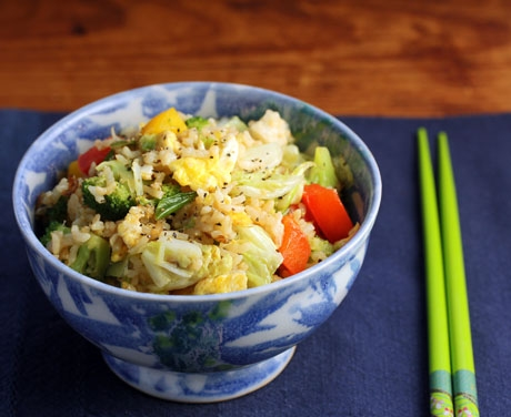 Vegetable fried rice, with brown rice.