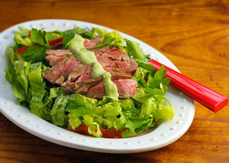 Steak salad with Green Goddess dressing, from The Perfect Pantry.