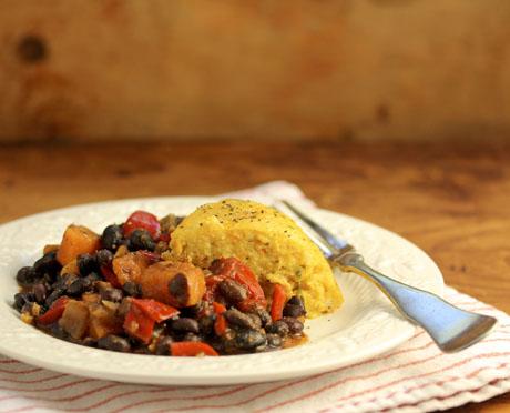 Vegan black bean & sweet potato stew (slow cooker), on The Perfect Pantry.