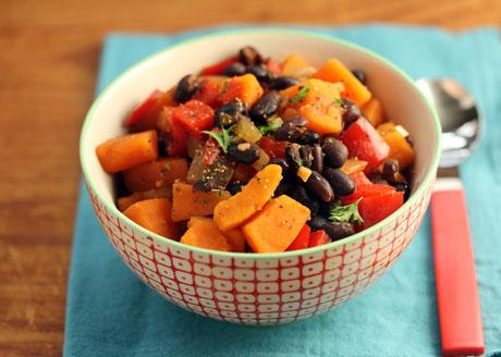 Gorgeous black bean and sweet potato stew, vegan & gluten-free.
