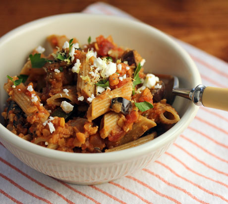 Try this pasta with red lentil sauce, made with pantry ingredients!