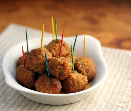 Sweet Rhode Island coffee-dunked turkey appetizer meatballs (The Perfect Pantry).