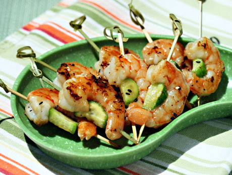 Grilled sesame lime shrimp and cucumber skewers (The Perfect Pantry).