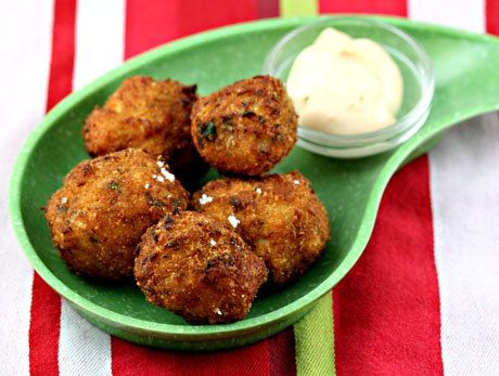 Salt cod balls (bolinhos de bacalhau), a favorite Brazilian bar food snack (The Perfect Pantry).