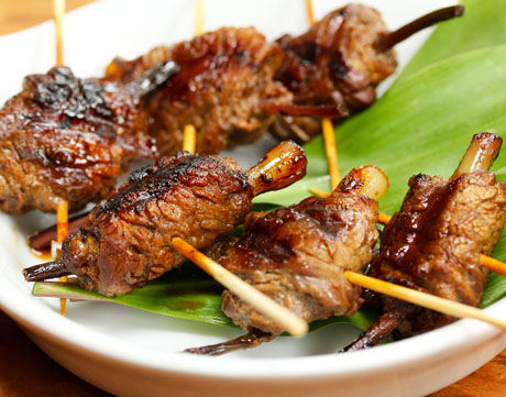 Grilled beef teriyaki skewers with ramps or scallions (The Perfect Pantry).