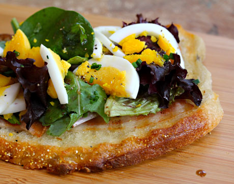 Bacon and egg tartine (The Perfect Pantry).