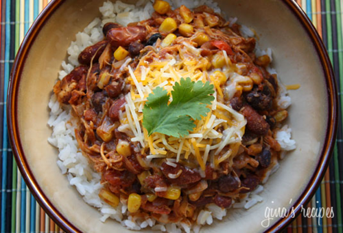 Crockpot chili taco chili, from Skinnytaste (on Soup Chick).