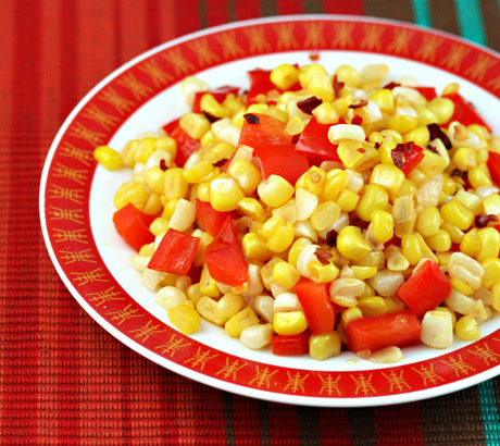Spicy corn and red pepper stir-fry (The Perfect Pantry).