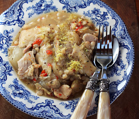 Slow cooker lemon-garlic chicken and white bean stew (The Perfect Pantry).