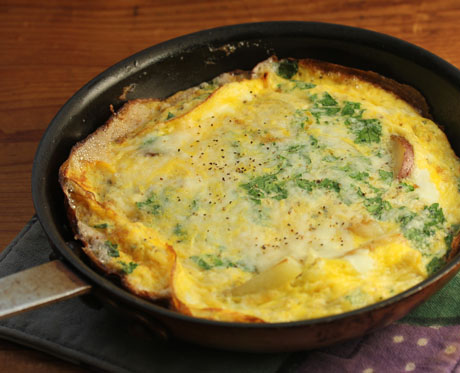 Potato, onion and blue cheese frittata, from The Perfect Pantry.
