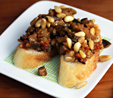 Caponata, a sweet and sour eggplant topping for bread toasts, from The Perfect Pantry.