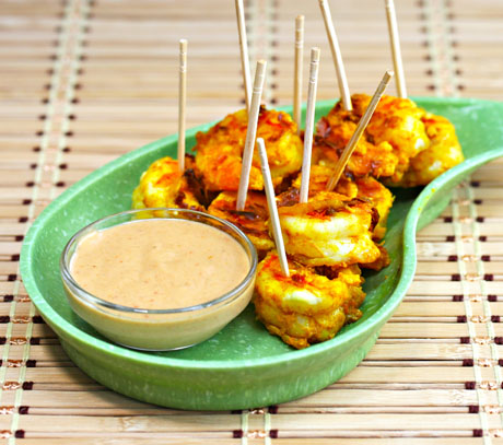 Roasted shrimp appetizer with spicy peanut sauce (The Perfect Pantry).
