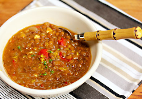 Greek lentil soup with red pepper and feta.
