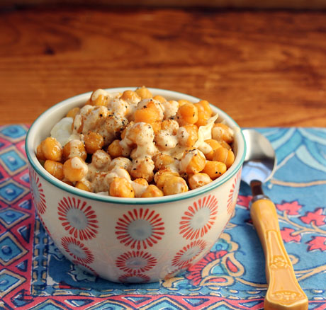 Roasted chickpea salad with creamy tahini dressing (The Perfect Pantry).