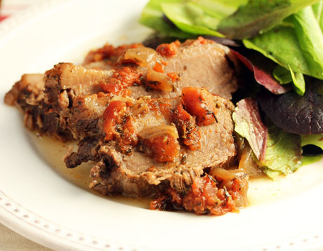 Mediterranean beef brisket, with tomato and herbs (The Perfect Pantry).
