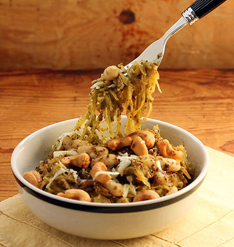 Spaghetti squash with cashew basil pesto and white beans, from The Perfect Pantry.