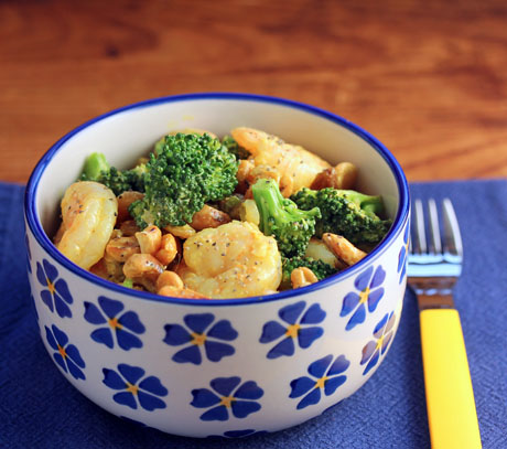 Seafood and broccoli salad with raisins and cashews. #salad #broccoli