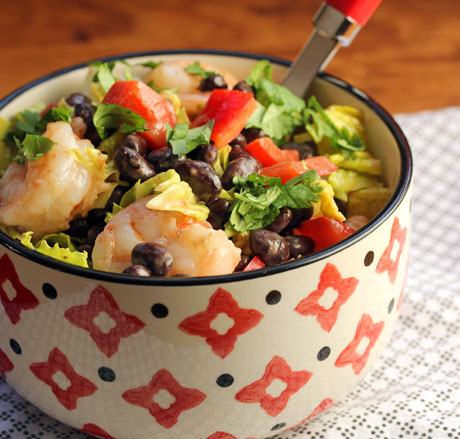 Shrimp and black bean salad with chipotle lime dressing, from The Perfect Pantry. #glutenfree #salad