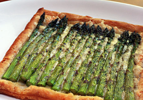 Asparagus and cheese tart, made with store-bought puff pastry. #asparagus