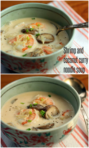 Shrimp and coconut curry noodle soup, mild or spicy. #soup