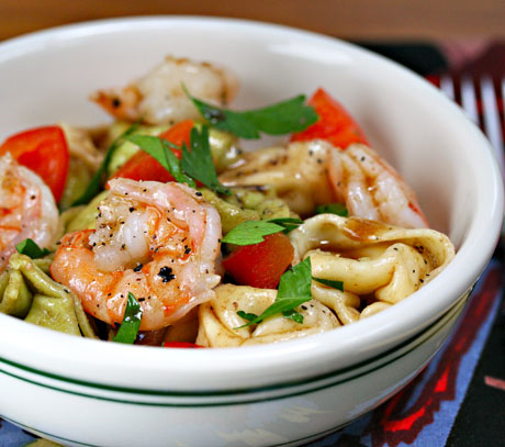 Tortellini and shrimp salad, perfect for a potluck. #salad