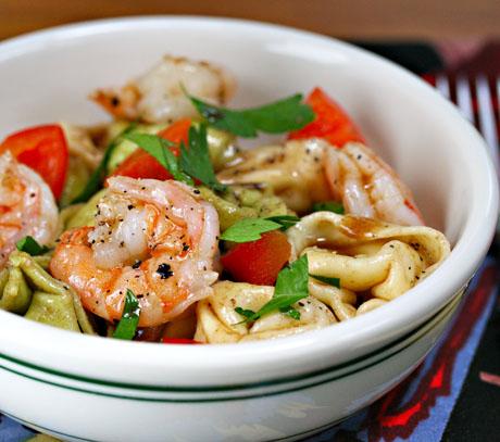 Tortellini and shrimp salad, perfect for a potluck. #salad