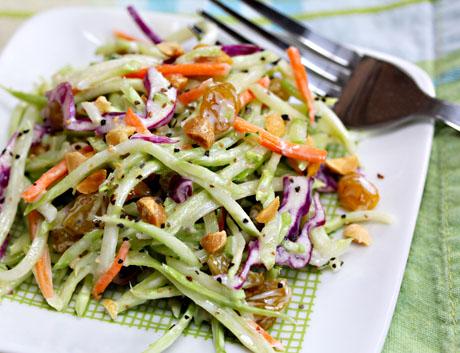 Broccoli slaw salad with honey mustard yogurt dressing #salad