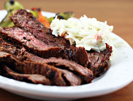 Serve this spicy skirt steak with cole slaw on the side. #grilling