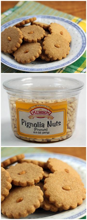 Pine nuts and cinnamon combine in these tasty shortbread cookies. #cookies
