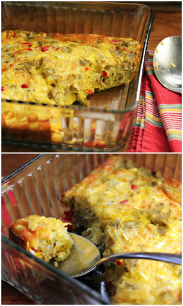 Breakfast-for-dinner egg and cheese casserole with artichoke hearts and feta.