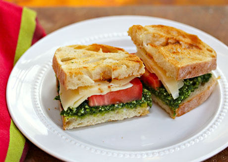 Kale pesto, tomato and fontina sandwich.