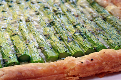 Line up your asparagus spears in this asparagus and cheese tart. That's the only tricky part!