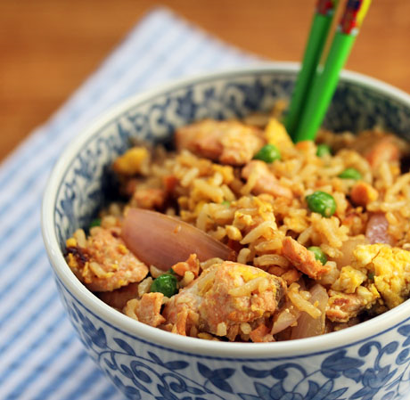 Salmon and peas fried rice keeps the July Fourth tradition alive!