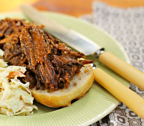 Slow cooker (crockpot) sweet and smoky beef, perfect for sandwiches.