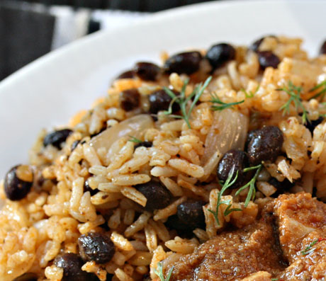 Skillet black beans and rice.