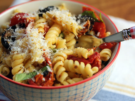 Rotini pasta with slow-roasted tomatoes. #vegetarian