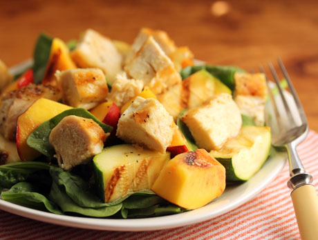Grilled chunks of chicken, zucchini and nectarine, with honey-lime dressing. #glutenfree