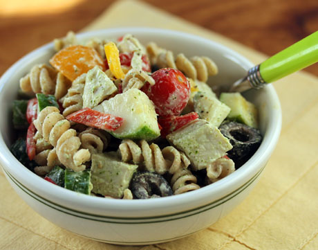 Whole wheat pasta turkey salad, with tangy feta-herb-yogurt dressing.