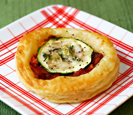 Zucchini and slow-roasted tomatoes in these puff pastry tartlets.