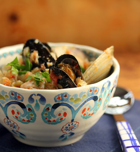 Seafood stew, packed with shellfish and salmon. #glutenfree