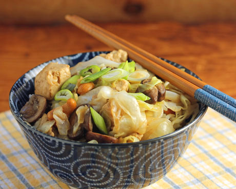 Tofu, cabbage and cashew stir-fry (The Perfect Pantry).