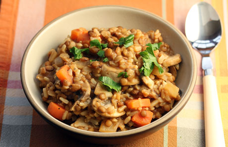 Smoky brown rice and lentils.