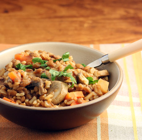 Smoky brown rice and lentils for Meatless Mondays (The Perfect Pantry).