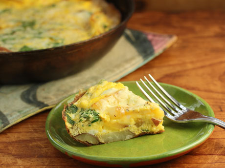 Potato, onion and blue cheese frittata (The Perfect Pantry).