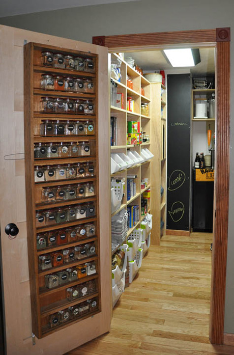 Pantry with spice rack.