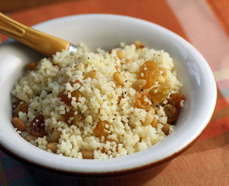 Sweet couscous with raisins and pine nuts (The Perfect Pantry).