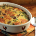 Recipe for breakfast casserole with kale, bacon, mushrooms and onions {gluten-free}