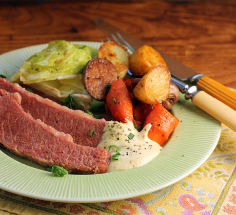Corned beef with tangy mustard sauce (The Perfect Pantry).