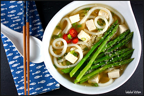 Udon noodles with tofu and asparagus in miso broth, from Kahakai Kitchen (via Soup Chick).