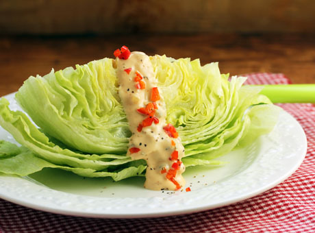 Iceberg lettuce wedge with lighter Thousand Island dressing (The Perfect Pantry).